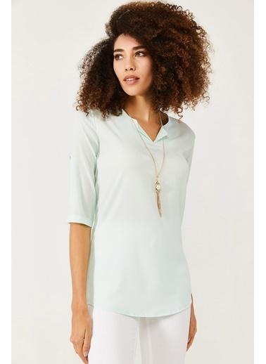 XHAN Mint V Yaka Bluz 1Kxk2-44547-58 Yeşil